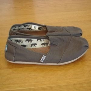 TOMS Women's Slip-On Shoes (Size 9.5) Gray Canvas